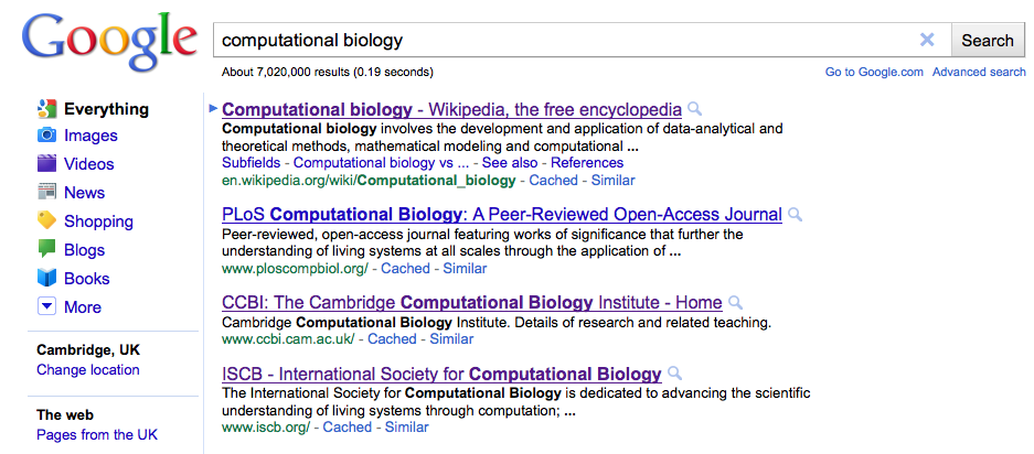 "Google Search Results for ""computational biolgy"""