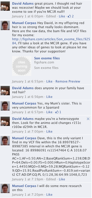 Facebook chat showing Dave Adam's conversation with me about finding the origin of the red hair in my offspring.