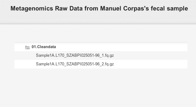 Figshare page for Metagenomics Raw Data from Manuel Corpas's fecal sample