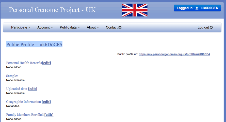 My Public Personal Genome Project UK profile page