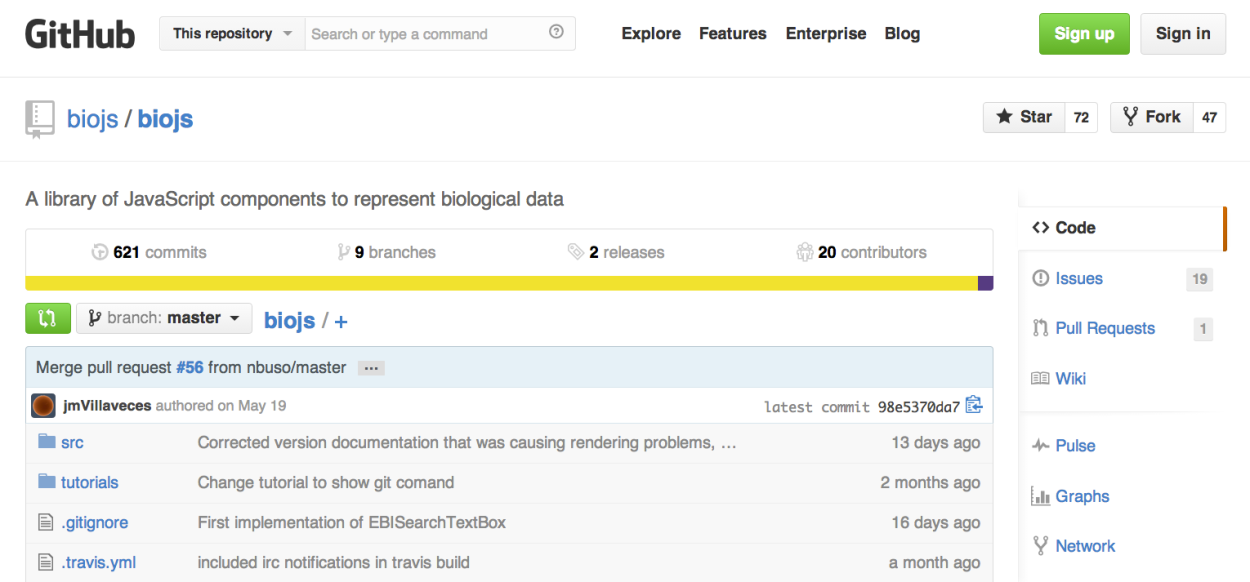 GitHub portal for BioJS. It shows 621 commits, 9 branches, 2 releases and 20 contributors.