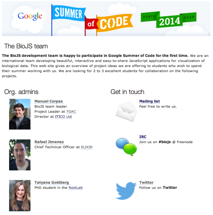 People leading the Google Summer of Code team for BioJS.
