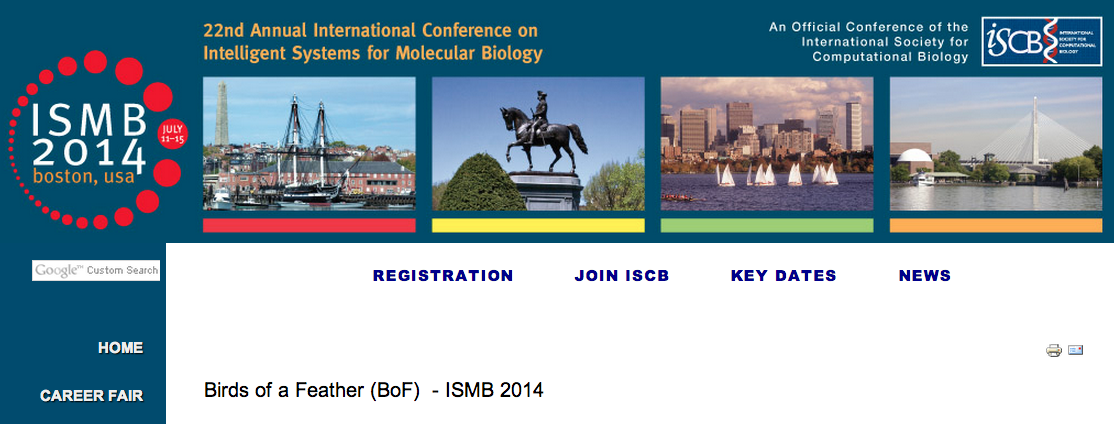 Birds of a Feather page for the ISMB conference in Boston
