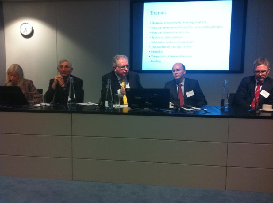 Genomics England Representative Panel. From left to right: Dame Key Davies, Sir John Chisholm, Professor Mark Caulfield FMedSci,  Professor Tim Hubbard and Mr Nick Maltby.