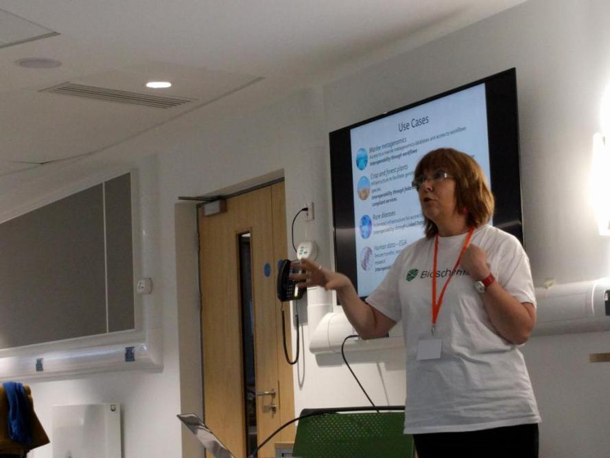 Photo2: Carole Goble speaking.